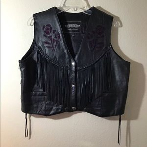 Black with Purple Rose Accent Motorcycle Vest